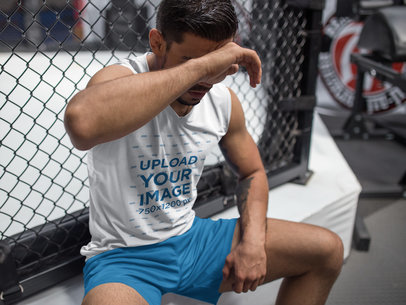 MMA Fighter Sweating After Training at the Gym Wearing Custom Sportswear Mockup a17035