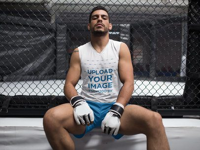 Portrait of an MMA Apprentice Wearing Custom Sportswear Mockup While Outside the Cage a17036