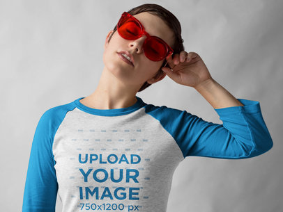 Girl with Red Glasses Wearing a Raglan Tshirt Template a17530
