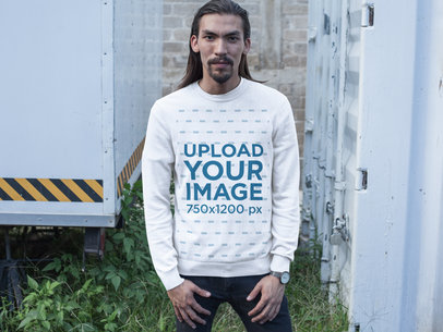 Long Haired Man with Beard Wearing a Crewneck Sweatshirt Template Near Containers a17589