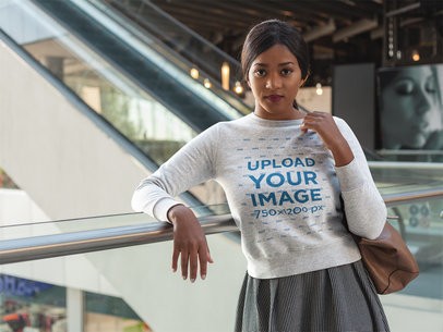 Girl Wearing a Crew Neck Sweatshirt Mockup While at the Mall a17741