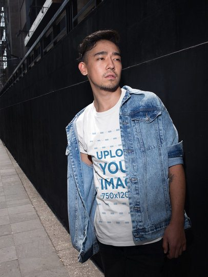 Cool Asian Guy Wearing a Tshirt Template and a Denim Jacket a17829