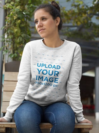 Beautiful Girl Wearing a Crew Neck Sweatshirt Template While Looking to the Sky a17638