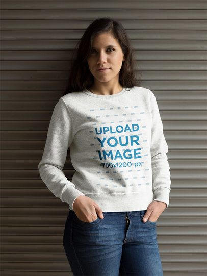 Pretty White Girl Wearing a Heather Crewneck Sweatshirt Template a17636