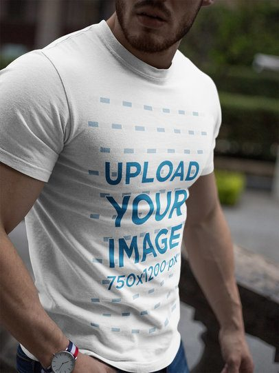 Cropped Face Strong Man Wearing a T-Shirt Mockup a17661