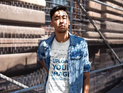 Asian Dude Wearing a Tshirt Template on a Bridge a17797