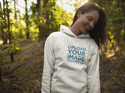 Blonde Girl Wearing a Crew Neck Sweatshirt Template while in the Woods a17905