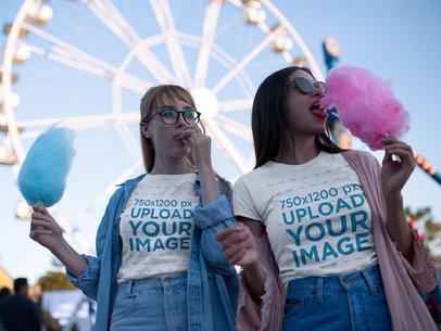 BFFs Wearing T-Shirts Mockup While Eating Cotton Candy a17885
