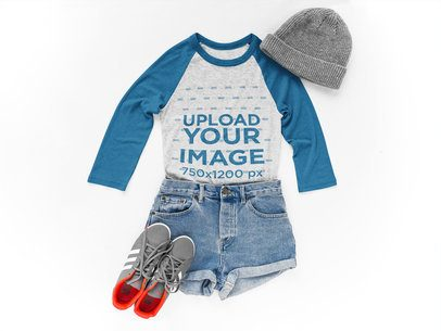 Raglan Tshirt Mockup Lying Next to Skater Clothes on a White Surface a17960