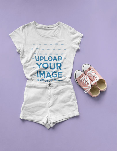 T-Shirt Mockup Lying on a Solid Surface with a Flat Lay Outfit a17961
