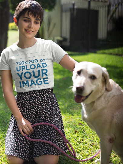 Happy Girl Wearing a Tshirt Mockup while with her Dog a17975