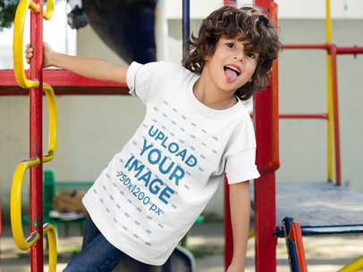 Boy with Tounge Out Wearing a T-Shirt Mockup a17867