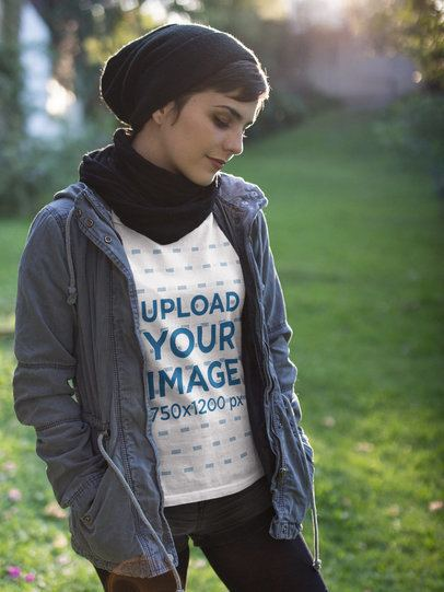 Girl Wearing a Tshirt Mockup and a Gray Jacket Outdoors a17928