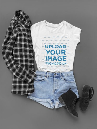 Flat Lay T Shirt Mockup of a Hipster Outfit a17957
