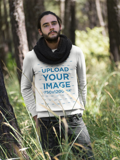 Dude with a Crewneck Sweatshirt Template and a Black Scarf in the Woods a18032