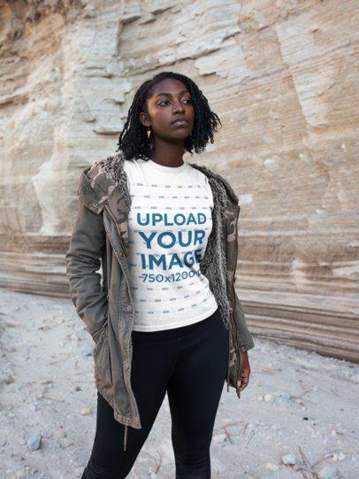 Girl Visiting a Canyon Wearing a Tshirt Mockup a18565