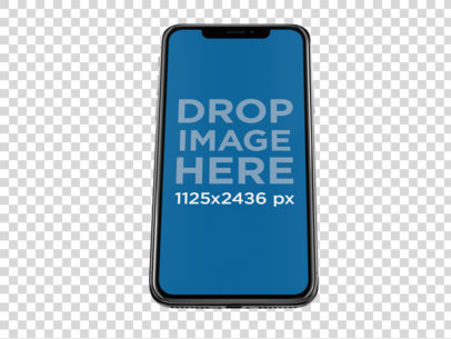 Jet Black iPhone X Mockup Floating Against a Transparent Backdrop a13832