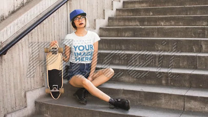 Trendy Girl Wearing a Round Neck Tee Cinemagraph While Her Skate Wheels Moving a13605