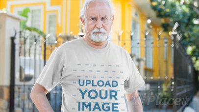 Closeup Video of a Senior Man Wearing a T-Shirt a12785