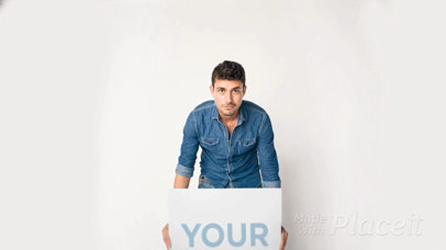 Young Man Holding a Big Poster Video Mockup Putting It Up a13799