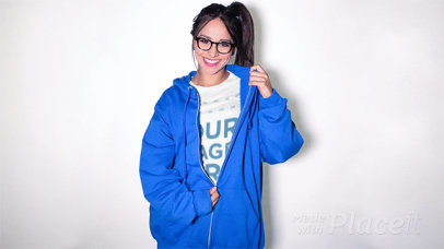 Pretty Girl Wearing a T-Shirt Stop Motion and Big Hoodie a13186