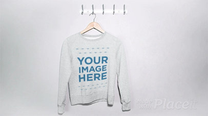 Stop Motion of a Crewneck Sweatshirt in a Hanger a13274