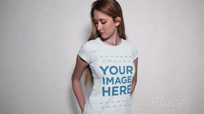 Pretty Girl Wearing a Tshirt in Stop Motion With Moving Shadow a13306