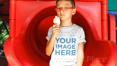 Kid's Tshirt Video of a Little Boy Eating an Ice Cream Cone at the Park a12540