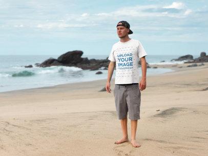 T-Shirt Mockup Beach Side Male a18792