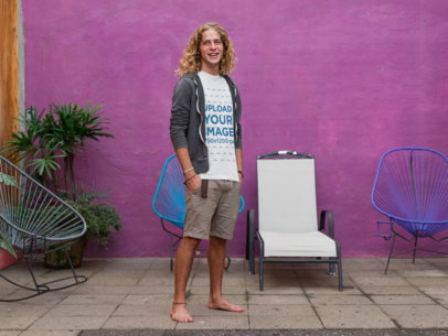 T-Shirt Mockup Guy Long Curly Blonde Hair a18793