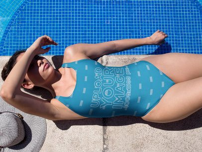 Girl Wearing a Swimsuit Template Lying Beside the Pool a19649