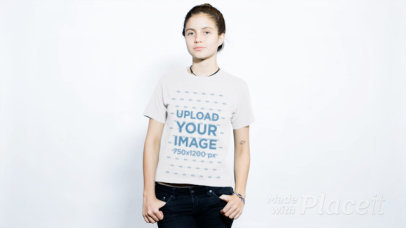 Distortion Video of a Young Girl Wearing Round Neck Tee Against White Background a13720