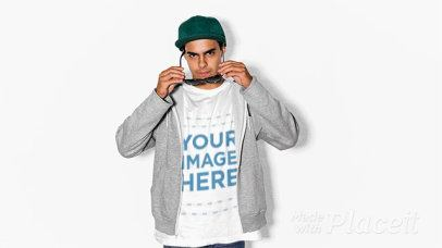 Cool Guy Wearing a Tshirt Stop Motion and a Hoodie Against a White Wall a13228