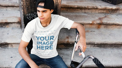 Trendy Guy with his Bike Wearing a Hat and a Tshirt Stop Motion a13356