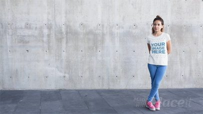 T-Shirt Stop Motion of a Trendy Girl Jumping Around a13233