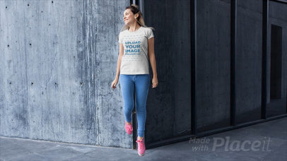 Stop Motion of a Girl Jumping While Wearing a T-Shirt a13232