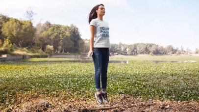 Pretty Girl Jumping Outdoors in Stop Motion Wearing a Tshirt a13520