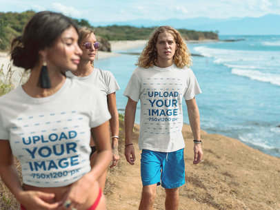 Group of Friends Walking by the Beach Wearing T-Shirts Mockup a18830