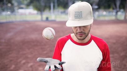 Dude Wearing a Hat in Stop Motion on a Baseball Field Playing With The Ball a13696