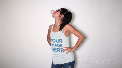Girl with Glasses Blowing a Bubble Wearing a Scoop Neck Tank Top in Stop Motion a13184