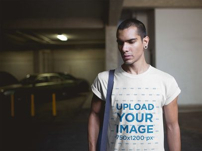Short-Haired Man Wearing a T-Shirt Mockup Going to a Yoga Class a19962