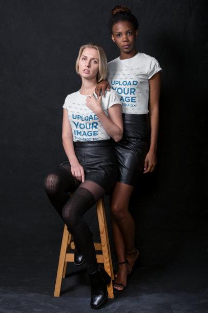 LGBT Shirts Mockup of a Lesbian Couple Wearing Tees at a Photo Studio a19901