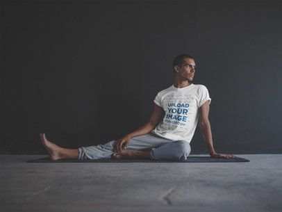 Man Wearing a T-Shirt Template Sitting After a Yoga Session a20034