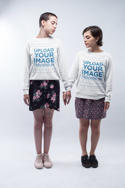 Gay Pride Sweatshirt Mockup Featuring a Lesbian Couple Holding Hands a19983