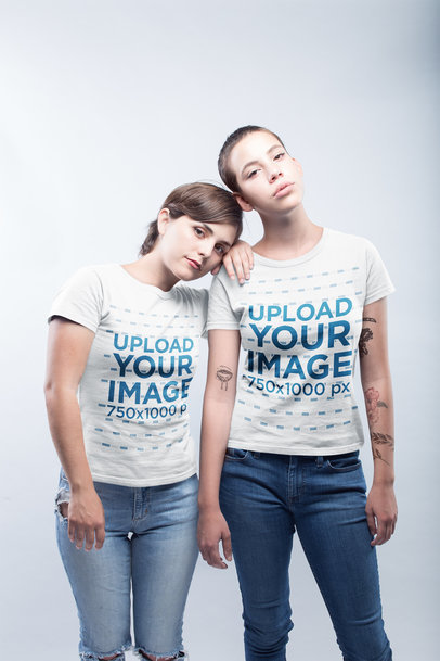 Lesbian Shirts Template Featuring a Lesbian Couple Wearing Tshirts Against a White Background a19978