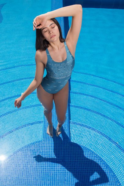 Beautiful Asian Girl Wearing a Swimsuit Mockup Standing at a Pool a19655