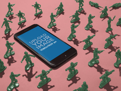 iPhone 8 Mockup Lying Surrounded by Toy Soldiers a19172