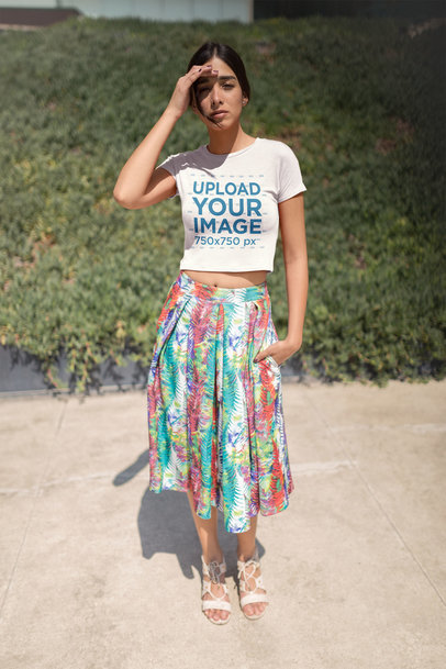 Pretty Woman Wearing a Crop Top Tee Mockup and a Colorful Skirt a19536