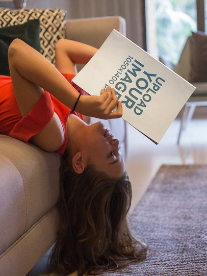 Girl Reading a Book Mockup Upside Down a19084