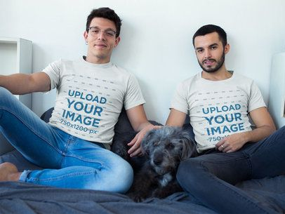 Gay Pride Shirts Template of a Couple Wearing T-Shirts with their Dog a19969